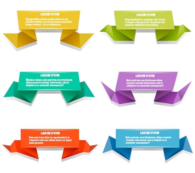Banners de origami de papel. conjunto de origami colorido con espacio para prueba. ilustración vectorial