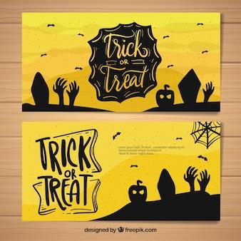 Banners originales de halloween dibujados a mano