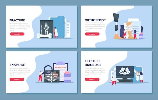 Banners de ortopedista y medicina.