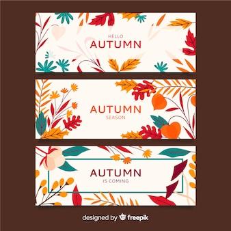 Banners de otoño dibujados a mano pack
