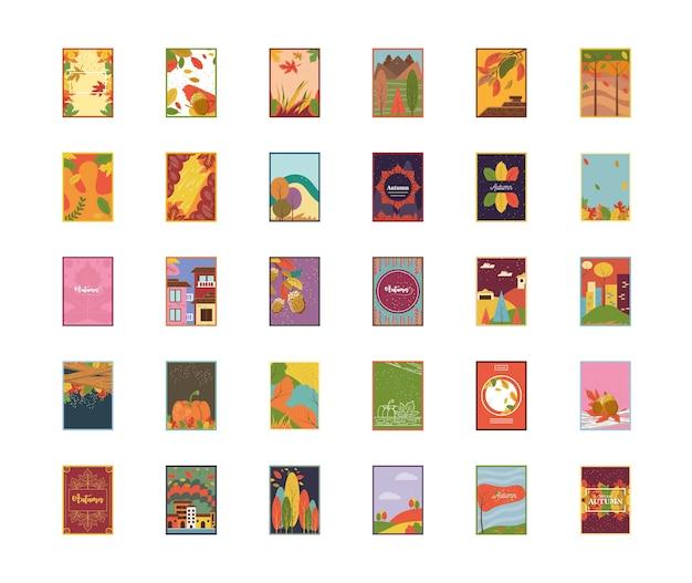 Banners de otoño estilo detallado 30 diseño de conjunto de iconos, temporada naturaleza ornamento decoración de jardín y botánica tema ilustración vectorial