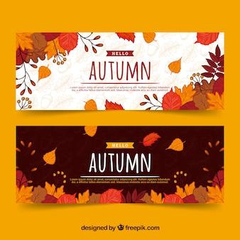 Banners de otoño con hojas coloridas