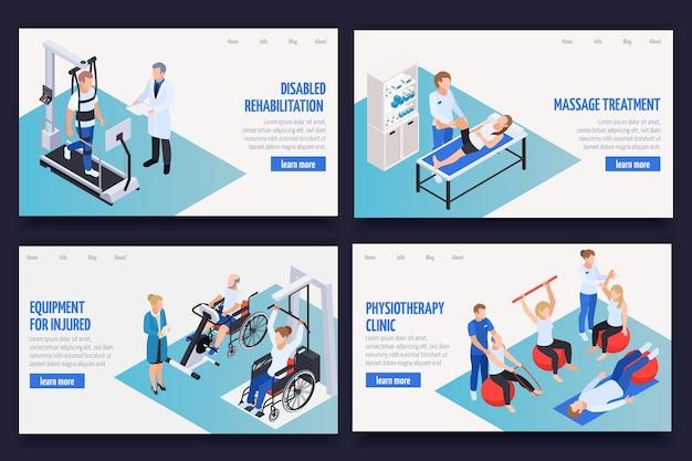 Banners de página web isométrica de clínica de rehabilitación de fisioterapia