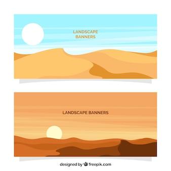 Banners de paisaje de desierto
