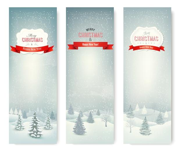 Banners de paisaje de invierno de navidad.