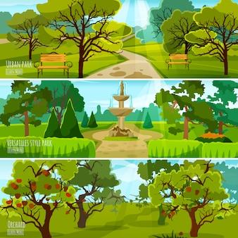Banners de paisaje de jardín