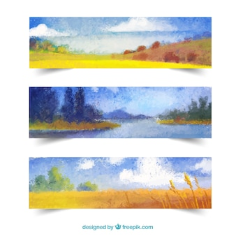 Banners del paisaje de otoño