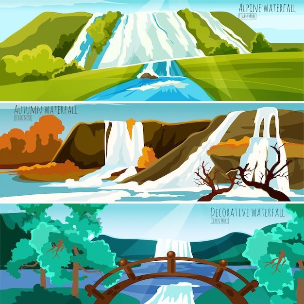 Banners de paisajes de cascada