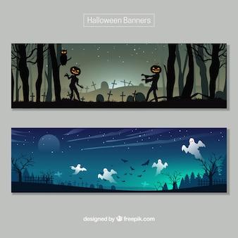 Banners de paisajes tenebrosos de halloween