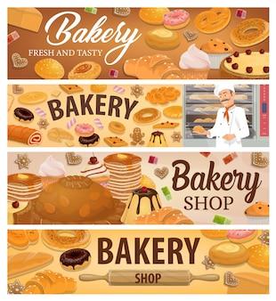 Banners de pan, productos de panadería y postres.