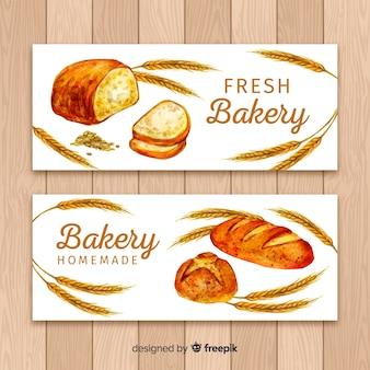 Banners de panadería en acuarela