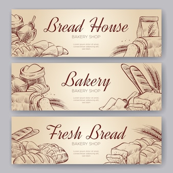Banners de panadería. dibujado a mano cocinar pan panadería bagel panes hojaldre centeno hornear hornear pan integral de centeno conjunto de banner culinario