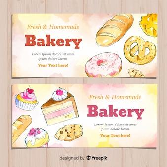Banners de panadería dibujados a mano