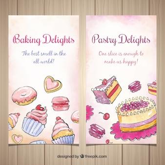 Banners de panadería en estilo acuarela