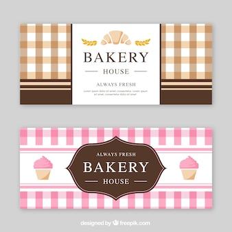 Banners de panadería en estilo plano