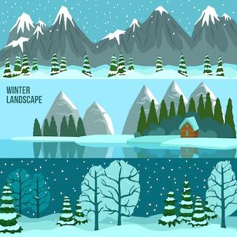 Banners de panorama de paisaje de invierno