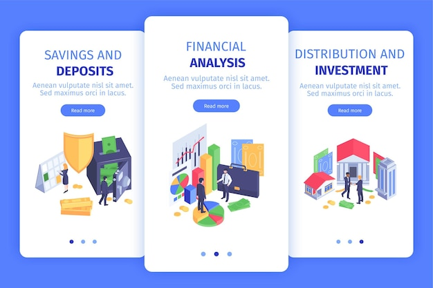 Banners de pantalla móvil isométrica vertical de finance business 3 con aplicación de inversión de distribución de análisis de depósitos de ahorro