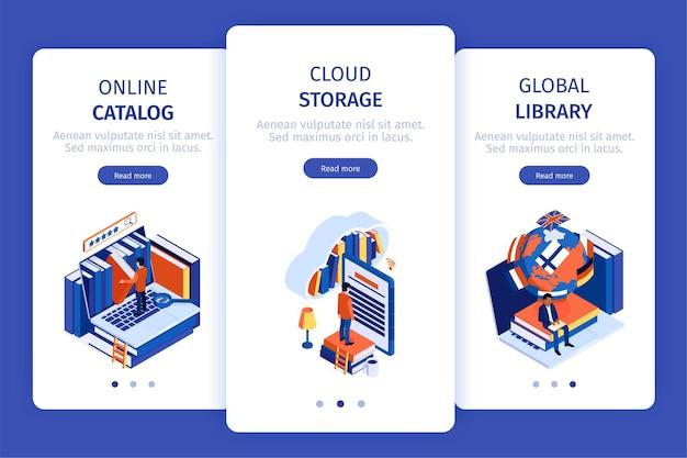 Banners de pantalla móvil vertical de biblioteca en línea establecer ilustración