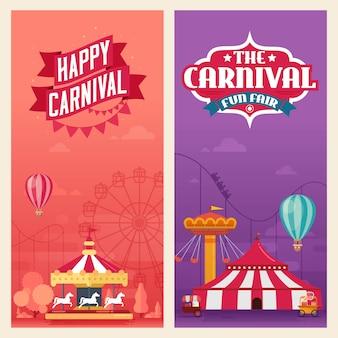 Banners del parque de atracciones de carnaval