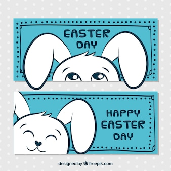 Banners de pascua azules con conejo divertido