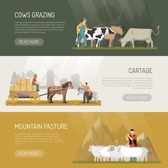 Banners de pasto de animales de granja