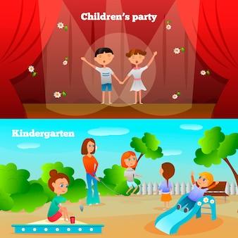Banners de personajes de jardín de infantes