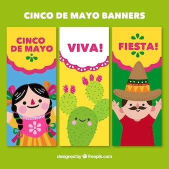 Banners  con personajes simpáticos de cinco de mayo