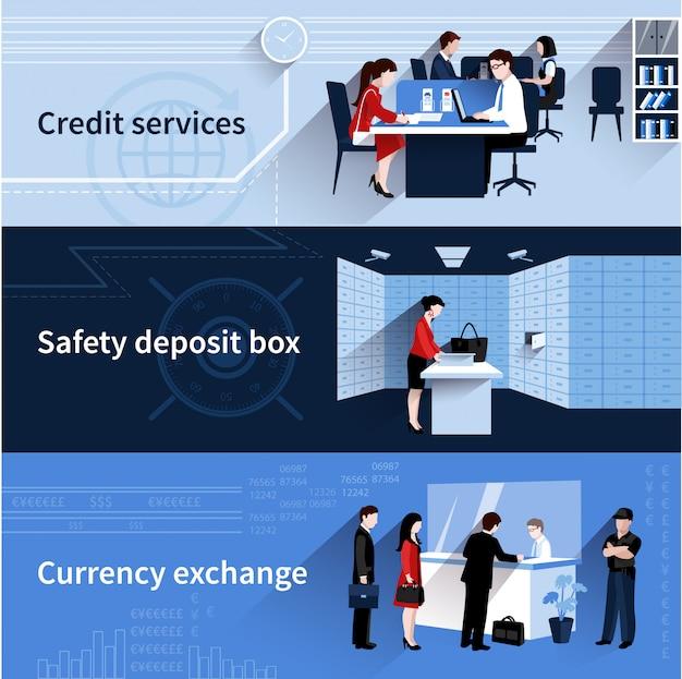 Banners de personas del banco conjunto con servicios de crédito y elementos planos de cambio de moneda