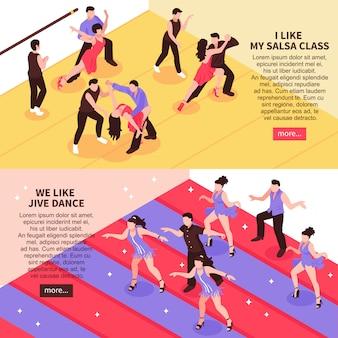 Banners de personas isométricas de baile