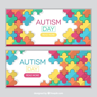 Banners de piezas de puzzle del día del autismo