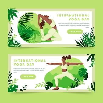 Banners planas con el día internacional del yoga