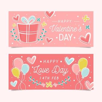 Banners planas día de san valentín