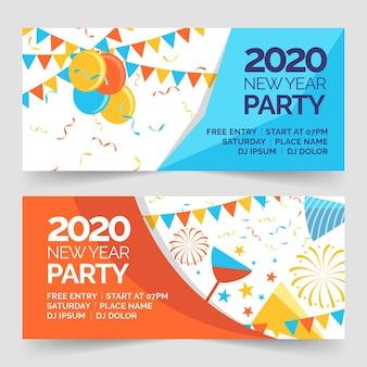 Banners planas fiesta de año nuevo