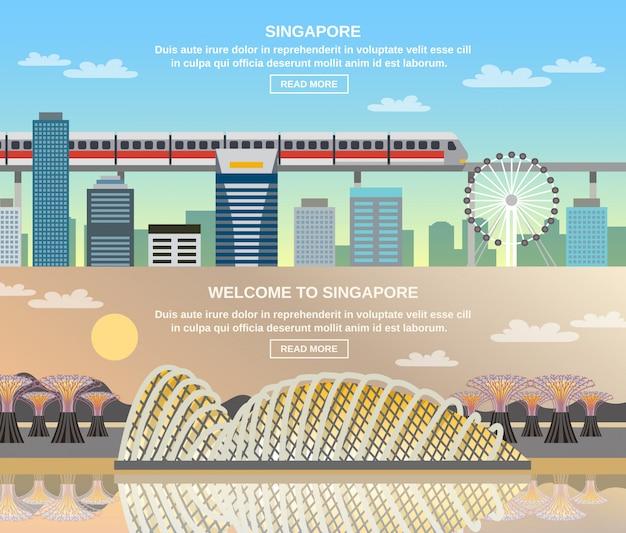 Banners planas de singapur cultural travel 2
