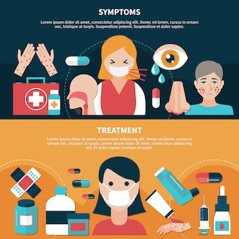 Banners planos de alergia