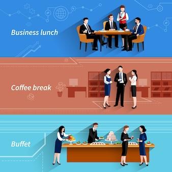 Banners planos de almuerzo de negocios establecidos