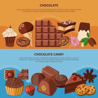 Banners planos de chocolate