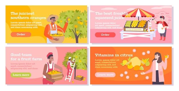 Banners planos de cítricos con personas que recolectan naranjas y vendedores agrícolas y compradores de frutas y jugos.