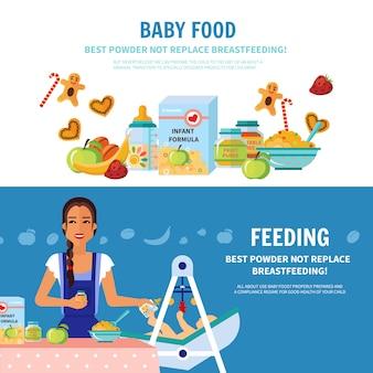 Banners planos de comida de bebé