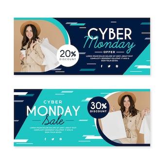 Banners planos de cyber monday