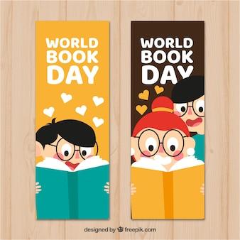 Banners planos del día internacional del libro con niños