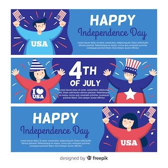 Banners planos día de la independencia