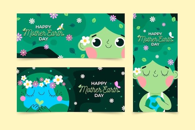 Banners planos del día de la madre tierra
