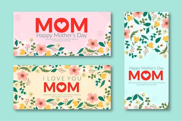 Banners planos del día de la madre
