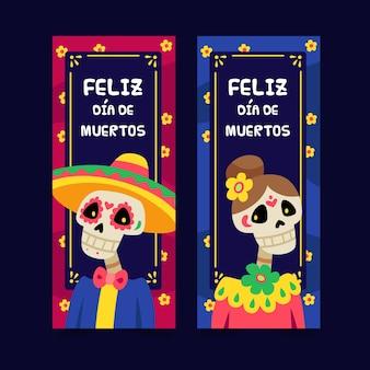 Banners planos del día de muertos
