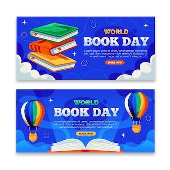 Banners planos del día mundial del libro