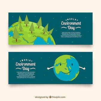 Banners planos para el día mundial del medioambiente