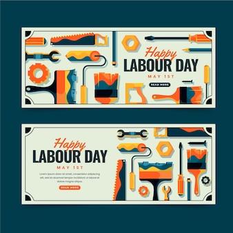 Banners planos del día del trabajo