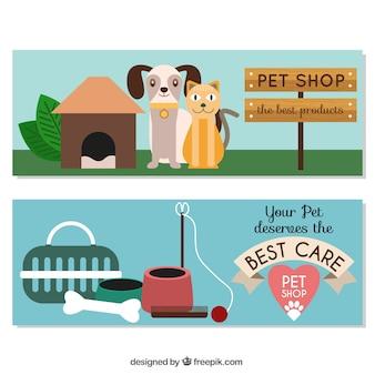 Banners planos con elementos de mascotas