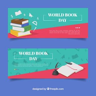 Banners planos feliz día internacional del libro